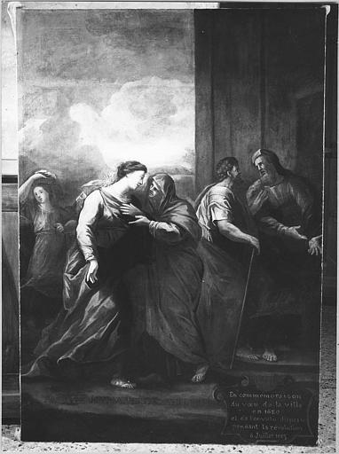 Tableau : 'La Visitation', huile sur toile ; après restauration