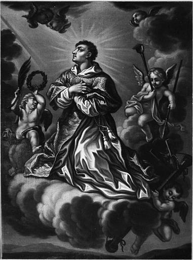 Tableau : 'Le triomphe de saint Vincent', huile sur toile ; après restauration