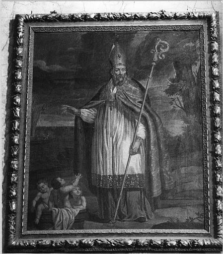 Tableau, cadre : 'Saint Nicolas et les trois enfants', huile sur toile