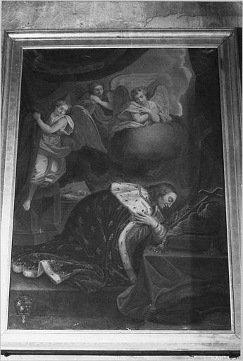 Tableau : 'Le roi Saint-Louis en prière devant les insignes de la Passion', huile sur toile