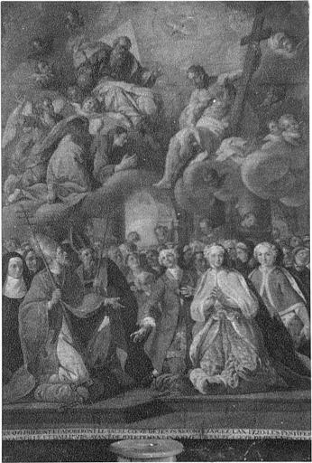 Tableau : 'La peste de Marseille', huile sur toile, tableau votif