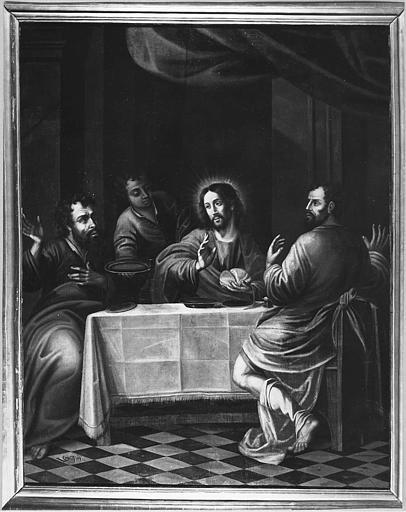 Tableau : 'Les disciples d'Emmaüs', huile sur toile ; après restauration