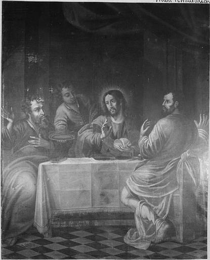 Tableau : 'Les disciples d'Emmaüs', huile sur toile ; avant restauration