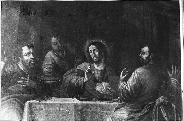 Tableau : 'Les disciples d'Emmaüs', vue rapprochée de la scène centrale ; avant restauration