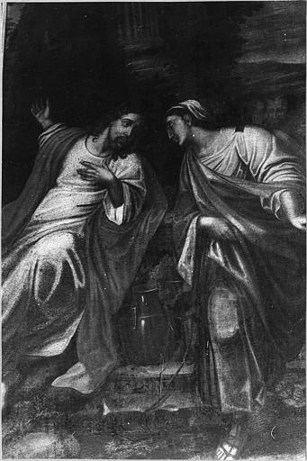 Tableau : 'Le Christ et la Samaritaine', huile sur toile