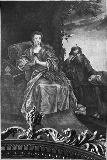tableau : sainte Madeleine et religieux en prière
