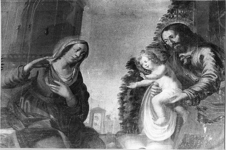 Tableau : 'La Sainte Famille', vue rapprochée sur la scène centrale, huile sur toile