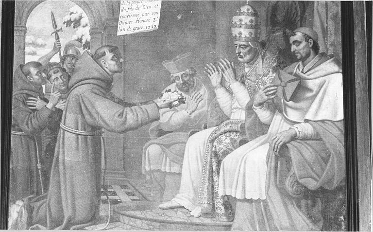 Tableau : 'Saint François d'Assise devant le pape Honorius III', vue rapprochée de la scène centrale, huile sur toile