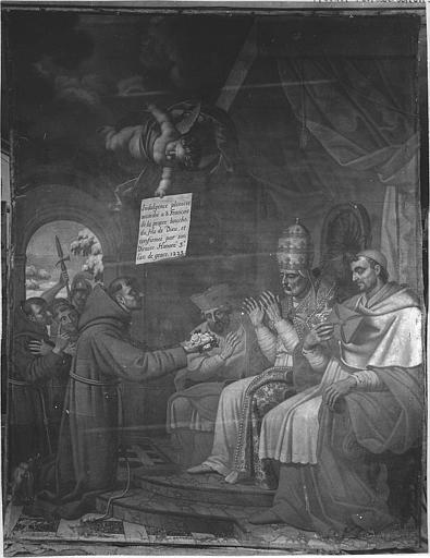 Tableau : 'Saint François d'Assise devant le pape Honorius III', huile sur toile ; avant restauration