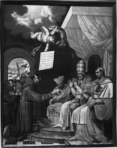 Tableau : 'Saint François d'Assise devant le pape Honorius III', huile sur toile ; après restauration
