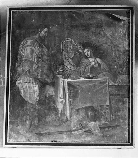 Tableau : 'La Sainte Famille', avec le Christ adolescent, huile sur toile ; avant restauration