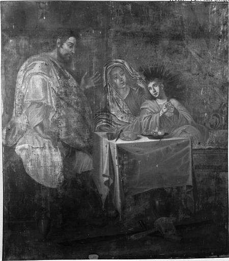 Tableau : 'La Sainte Famille', avec le Christ adolescent, vue rapprochée de la scène centrale, huile sur toile