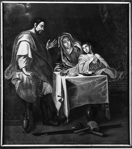 Tableau : 'La Sainte Famille', avec le Christ adolescent, huile sur toile ; après restauration