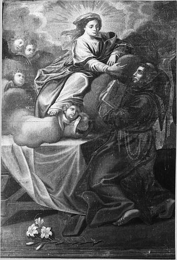 Tableau : 'Saint François d'Assise présentant la règle de son ordre à la Vierge', huile sur toile
