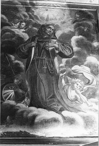 Tableau : 'Triomphe de saint François d'Assise', huile sur toile