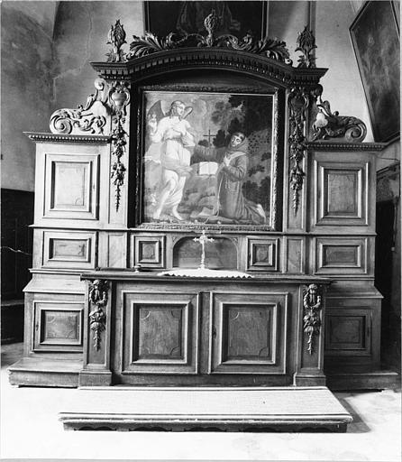 Meuble de sacristie, tableau : 'Saint François refusant le sacerdoce', meuble architecturé, à huit vantaux, tableau placé au centre du meuble