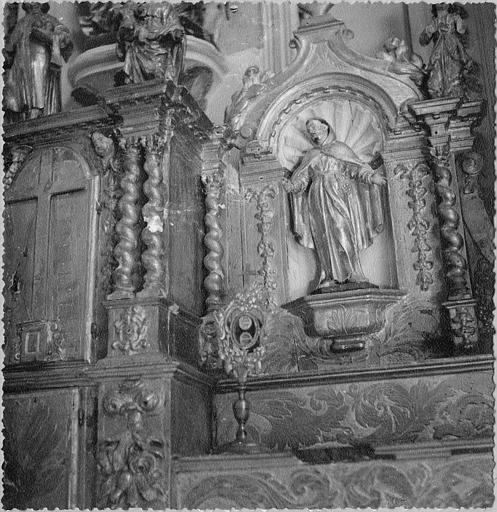 Tabernacle, statue : 'Saint François d'Assise' (?), niche architecturée, bois sculpté, doré