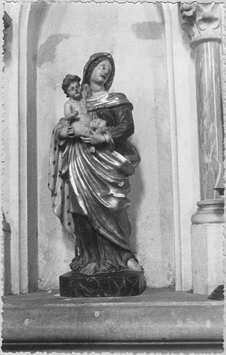 Statue : 'Vierge à l'Enfant dite Notre-Dame des Lumières', bois sculpté, peint, doré