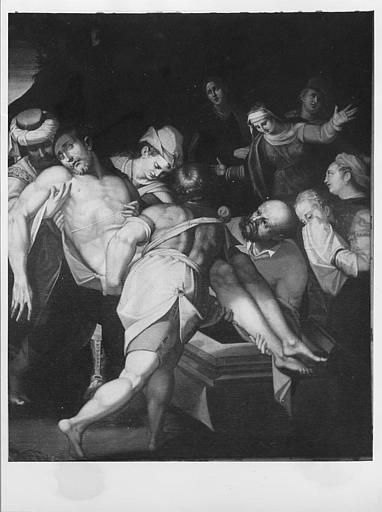 Tableau : 'La mise au tombeau', huile sur toile ; après restauration