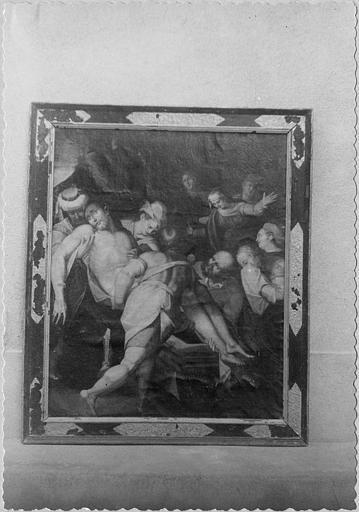 Tableau : 'La mise au tombeau', huile sur toile ; avant restauration