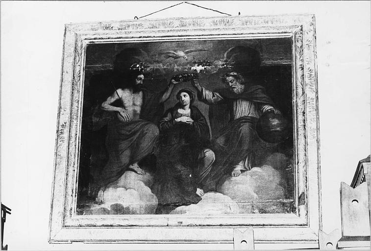 Tableau, cadre : 'Le couronnement de la Vierge', huile sur toile, cadre en bois doré