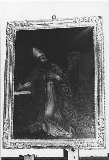 Tableau, cadre : 'Saint Augustin agenouillé', huile sur toile, cadre en bois doré
