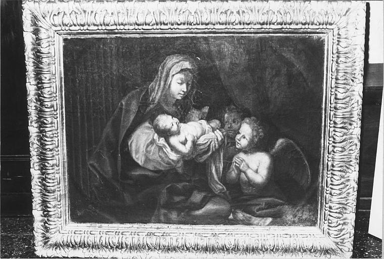 Tableau, cadre : 'Vierge à l'enfant avec deux anges adorateurs', huile sur toile, cadre en bois doré