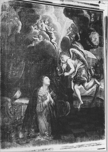 Tableau, cadre : 'L'Annonciation', huile sur toile, cadre en bois noirci et doré