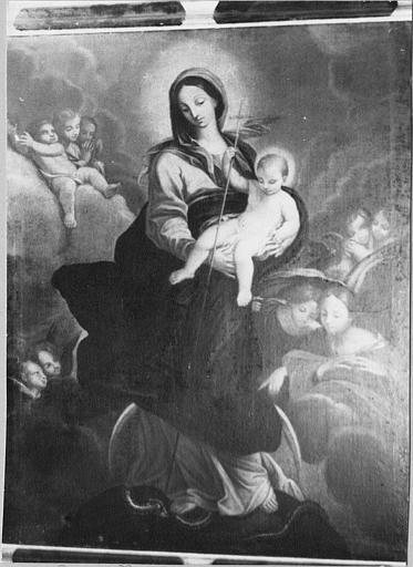 Tableau : 'Vierge à l'Enfant', parmi les anges, huile sur toile