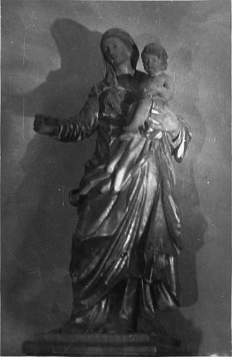 Groupe sculpté : 'Vierge à l'Enfant', bois sculpté, peint, doré