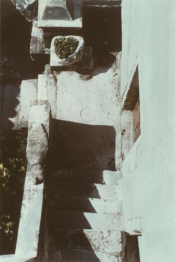 Escalier : rampe sculptée d'un motif de sirène