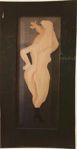 Peinture monumentale : femme nue, de dos, à tête de cheval peinte sur une porte de meuble