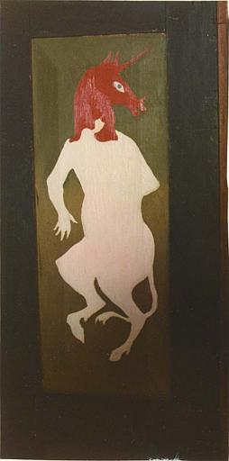 Peinture monumentale : personnage fantastique à corps humain, tête et pieds postérieurs de licorne