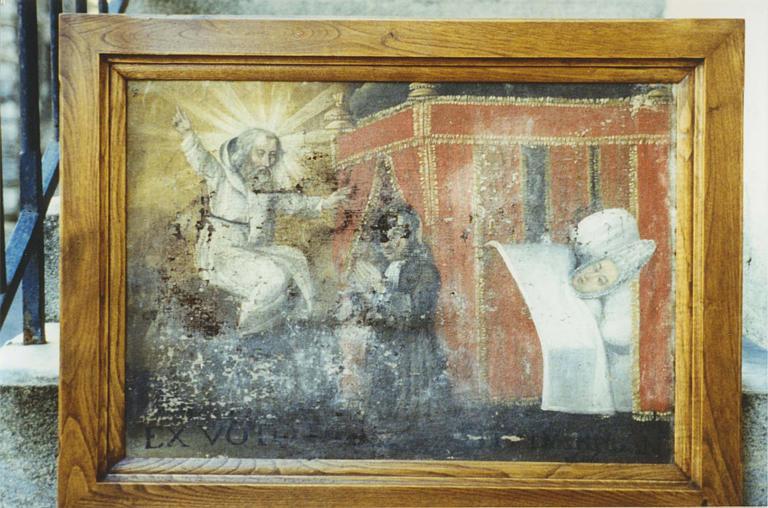 Ex-voto : 'Intercession auprès de saint Montan', huile sur toile