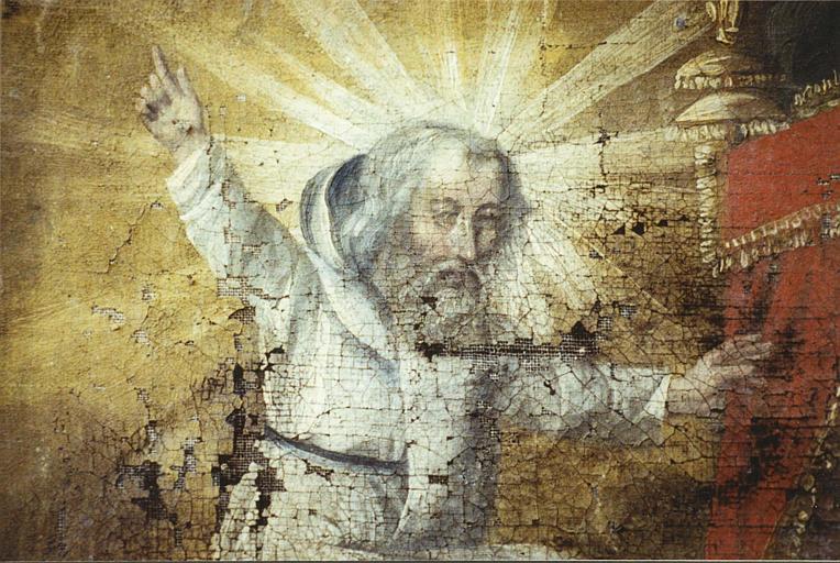 Ex-voto : 'Intercession auprès de saint Montan', détail du visage du saint, huile sur toile