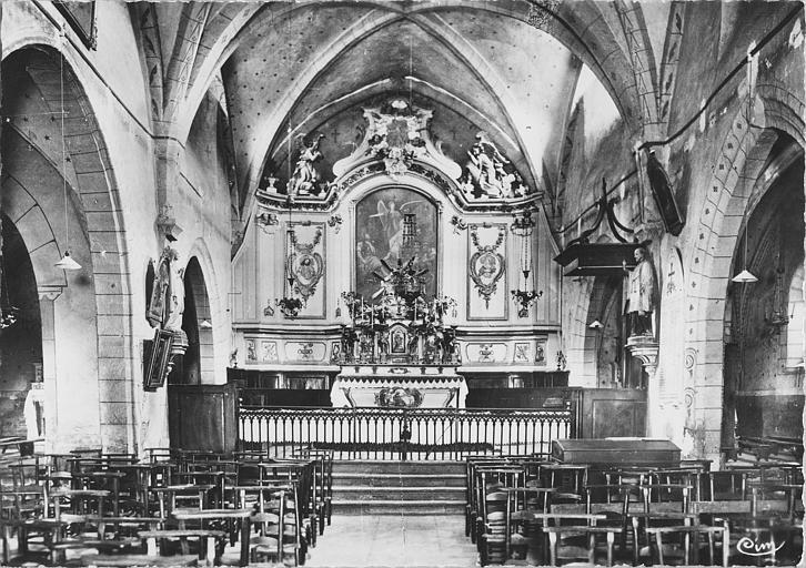Autel, gradin d'autel, tabernacle, retable : autel galbé, retable et tabernacle architecturés, statues, bas-reliefs