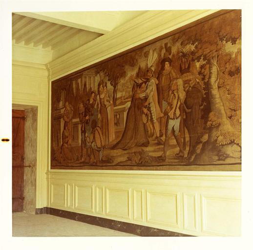 Lambris de revêtement, tableau : 'Episode de la vie de Don Quichotte' ; après restauration
