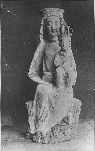 Groupe sculpté : 'Vierge à l'Enfant', couronnés, bois sculpté (face)