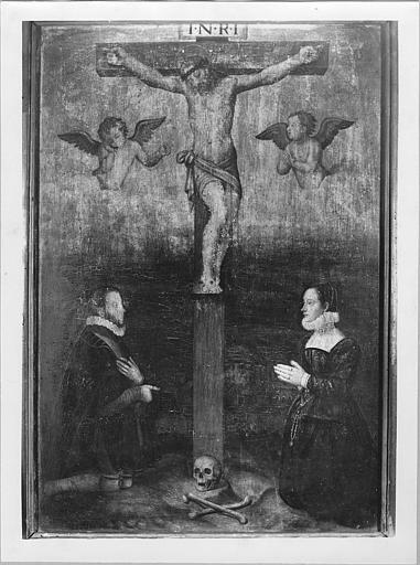 Tableau : 'Le comte et la comtesse de Tournon au pied de la croix', panneau peint