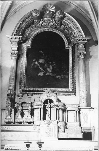 Tabernacle, exposition, retable, tableau : 'Vierge de Pitié', retable, tabernacle, exposition architecturés en bois sculpté