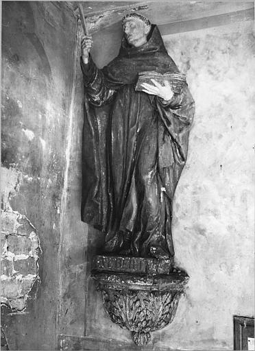 Statue : 'Saint Jean de la Croix', bois sculpté, peint ; après décapage