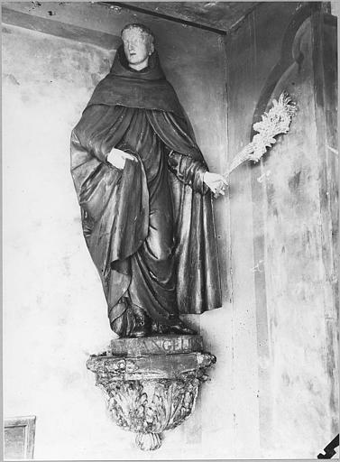 Statue : 'Saint Pierre d'Alcantara', bois sculpté, peint ; après décapage