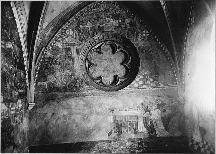 Peinture monumentale : trois scènes, l'Entrée dans Jérusalem, le Lavement des pieds, la Cène