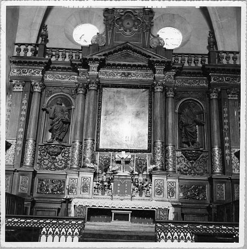Autel, retable, statues (2) : 'Saint Pierre', 'Saint Paul', retable architecturé ; avant restauration