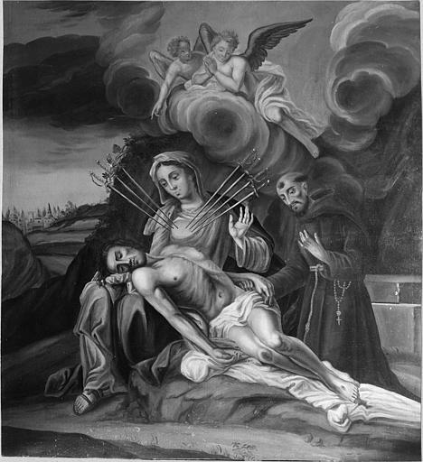 Tableau : 'Notre Dame des Sept Douleurs', huile sur toile ; après restauration