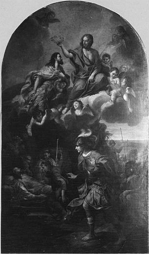 Tableau : 'La mort de Saint Louis', huile sur toile cintrée ; après restauration