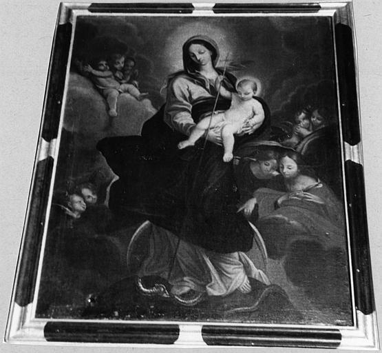 Tableau : 'La Vierge et l'Enfant terrassant le serpent', huile sur toile