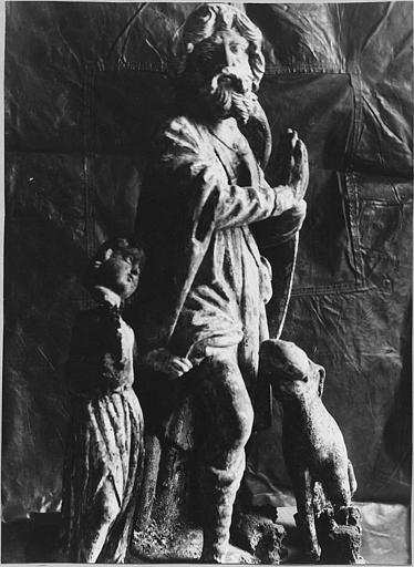 Groupe sculpté : 'Saint Roch', bois sculpté