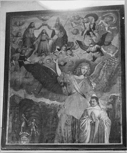 Tableau : 'Le Couronnement de la Vierge montré par un ange à un orant', huile sur toile ; avant restauration