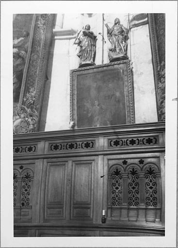 Tableau, statues (2) : 'Le retour d'Egypte', 'Saint Vincent de Saragosse', 'Saint Jean-Baptiste'